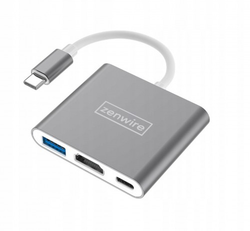 Adapter USB-C 3w1 HUB MHL 3w1 Zenwire do HDMI 4K/USB3.0/PD