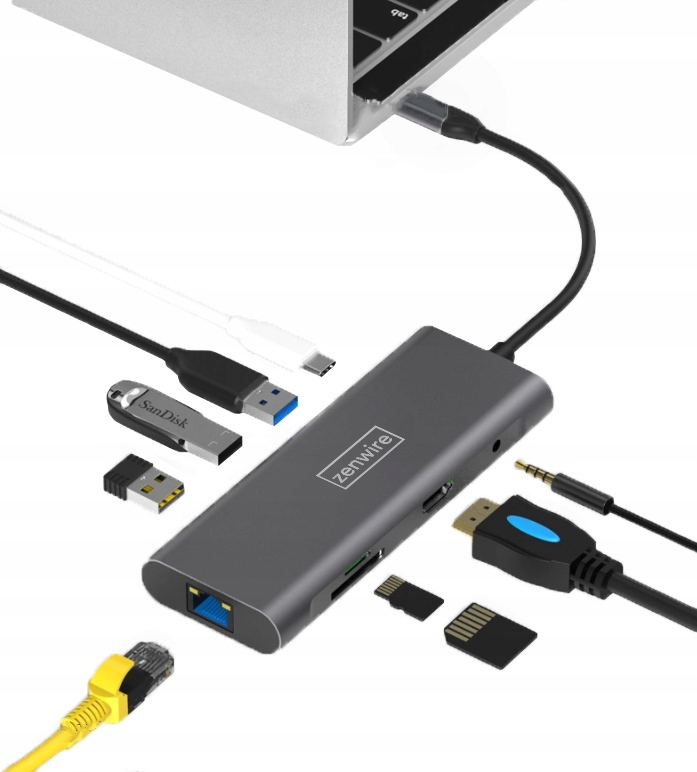 Image of Adapter Przejściówka 9w1 HUB USB-C Thunderbolt 3.0 (HDMI 4K 3x USB 3.0 Ethernet RJ-45 JACK SD PD) do Apple Macbook Pro Air M1, Dell, HP, Asus Zenboo