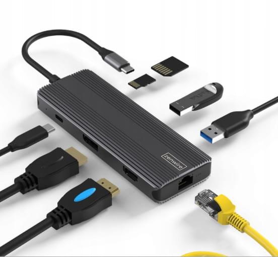 ADAPTER HUB 8w1 USB-C HDMI Display Port SD HDMI 4K USB 3.0 Gigabit Ethernet RJ-45 LAN 1000 Mbps 144 HZ