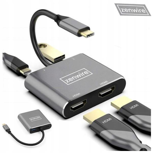 Image of ADAPTER HUB Przejściówka USB-C 4W1 2x HDMI 4K USB